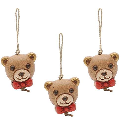 Thun confezione 3 charm chiudipacco teddy ceramica 2 x 2 cm