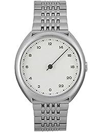 Slow O 01 - Tous les en acier argenté unisexe cadran blanc montre à quartz avec affichage analogique et bracelet en acier inoxydable Argenté