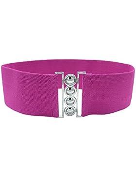 Keleidun - Cinturón elástico con hebilla de metal para mujer, de 3cm de ancho