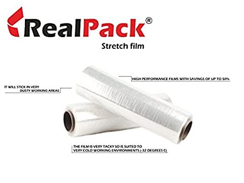REALPACK® 1 x QUALITY FLUSH CORE CLEAR PALLET STRETCH WRAP STRONG SHRINK FILM | SIZE - 400mm X 300m | IDEAL FOR WRAP | FREE FAST