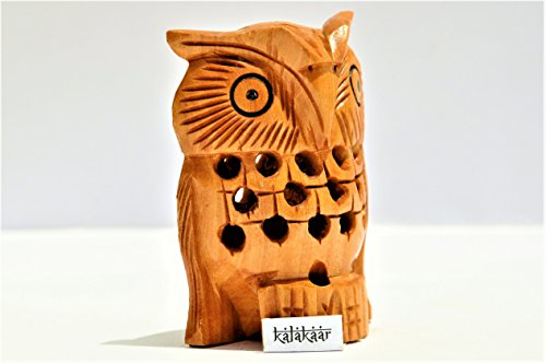 KalaKaar Handicraft Wooden Owl 3 inch for Car Dashboard Idol  available at amazon for Rs.399
