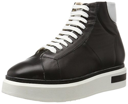 Oxitaly Damen Betty 101 Sneaker, Schwarz (Nero), 40 EU (Boot High Heel Nappa Ankle)