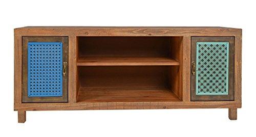 ts-ideen TV-Bank Lowboard HiFi-Schrank Vintage Antik Shabby Design Used Style Massivholz braun zwei Türen mit buntem Muster