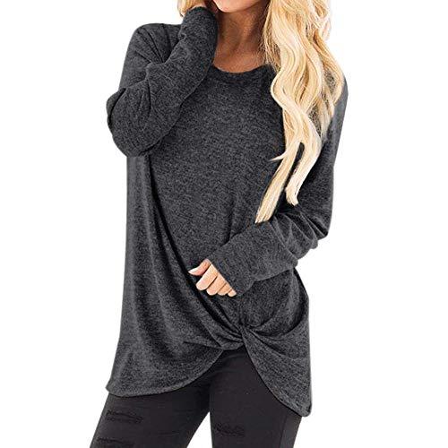 MEIbax Damen Mode lose Sweatshirt Langarm O-Ansatz Pullover beiläufige Einfarbig T-Shirt Bluse Tops