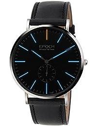 Epoch 6025G 50m Wasserdicht Tritium blau Luminous Ultrathin Case Schutzhülle Lederband Business Herren Quarzuhr Armbanduhr