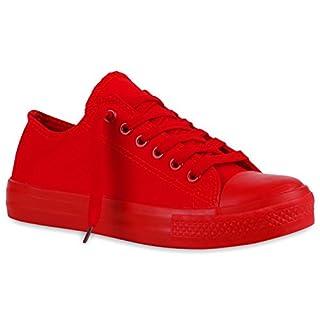 Damen Sneakers Turn Freizeit Low Sneaker Übergrößen Prints Glitzer Denim Schuhe 120360 Rot Autol 36 Flandell
