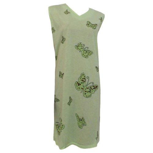 Damen Nachthemd 'Sommerflair' ohne Arm mit Schmetterlingen 100% Baumwolle Lindgrün