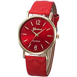 WINWINTOM Roman Leather Band Analog Quartz Wrist Watch Red