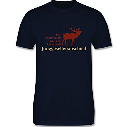 JGA Junggesellenabschied - Platzhirsch - Herren Premium T-Shirt Navy Blau