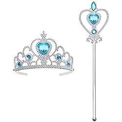 Vicloon Princesa Vestir Accesorios Regalo Conjunto con Corona/Sceptre para Niña,3-10 Años (2 Pcs)