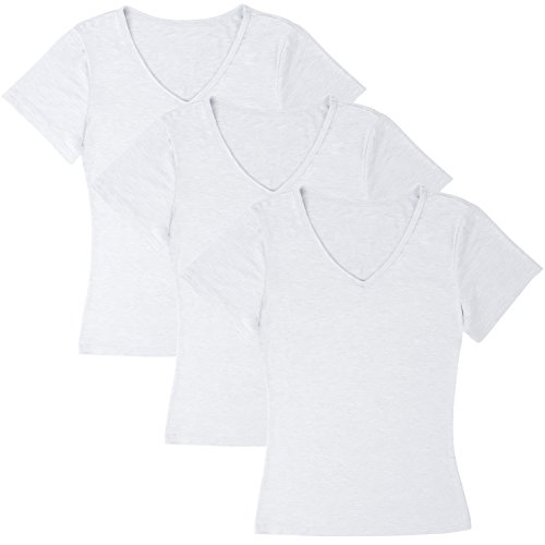 Damen Langarmshirt für Sport & Freizeit, V Ausschnitt T-Shirt, 3er Pack weiß - 3er Pack - Kurzarm