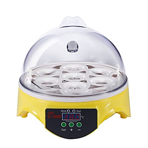 Egg Incubator Plastic Durable Digital Home Mini Hatching 7 Egg Capacity Incubator Chicken Duck Egg Hatcher Yellow and
