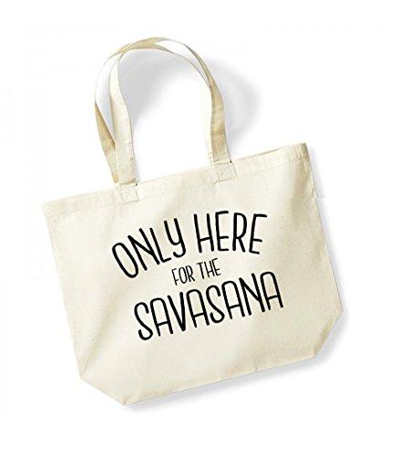 Only Here For The Savasana - Large Canvas Fun Slogan Tote Bag Natural/Black
