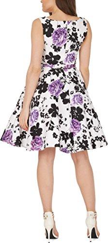 Black Butterfly 'Audrey' Vintage Serenity Kleid im 50er-Jahre-Stil (Weiß & Lila, EUR 52 – 5XL) - 3