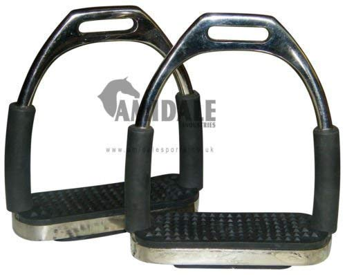 Amidale Flexi Seguridad Estribos Caballo Equitación Flexible Planchas Inoxidable Acero Negro Dibujo - 12 cm