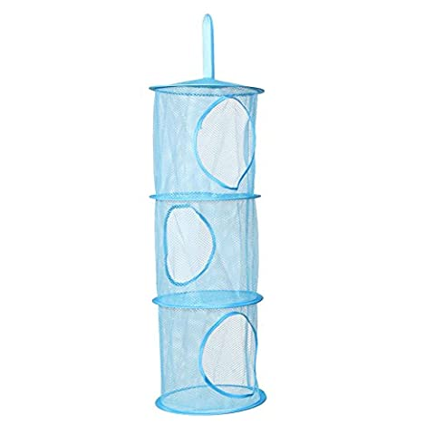 Hanging Storage Net 3 Tiers Portable Foldable Mesh Bag Bedroom Wall Door Closet Kids Toys Organizer Laundary Basket Hanging Shelves Pockets (blue)