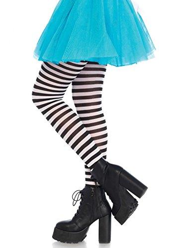 Leg Avenue 7100 - Blickdichte Ringel-Strümpfhose Damen Karneval Kostüm Fasching, Schwarz/weiß, Einheitsgröße (EUR 36-40) (Leg Gestreifte Strumpfhose Avenue)