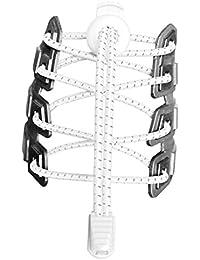 Canwn [2 Pares] Cordones Elásticos para Zapatos, Atar y Sin Nudo Reflexivo Cordones de Zapatos con Longitud de 120cm para Maratón y Triatlón Atletas,Corredores,Niños, Ancianos,Discapacitado(Blanco)
