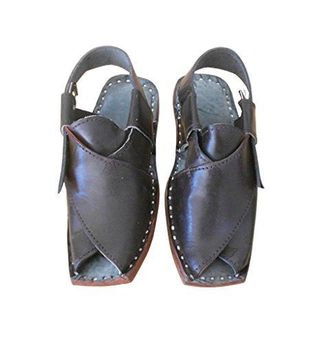 kalra Creations hommes de cuir fait main traditionnel indien Flâneur Sandales Marron