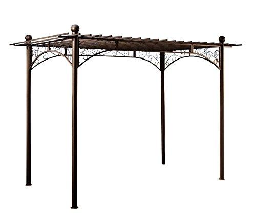 CLP Eisen-Pergola ULPGAR 01 A I Begrünbares Terassendach im Landhausstil I Rankpavillon für Kletterpflanzen I Rankgestell mit kunstvollen Verzierungen Anthrazit