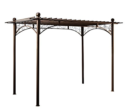 CLP Metall-Pergola Pavillon ULPGAR 01 A, Eisen pulverbeschichtet, Größe ca. 310 x 190 cm, Höhe ca. 230 cm, rechteckig anthrazit