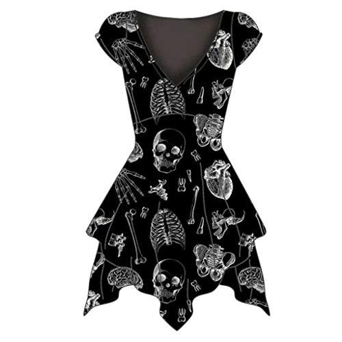 amen Kleid Vintage Schädel Drucken Steampunk Gothic Kleid Cosplay Kleid V-Ausschnitt Asymmetrisch Minikleid Party Kostüm Kleidung Partykleider ()