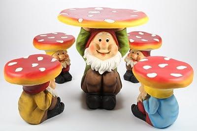 """point-garden 5-er Set Garten """"Pilz Zwerg"""" 1 x Tisch 4 x Stuhl für Kinder"""