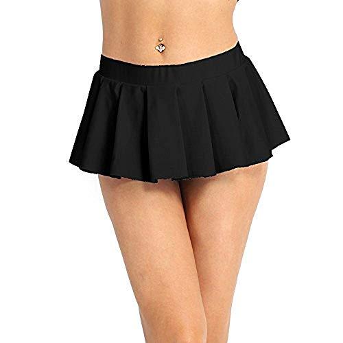 Freebily Damen Schulmädchen Minirock Mini Rock Dessous Kurz Röcke Faltenrock Reizvoll Dessous Lingerie Cosplay Kostüm Clubwear Schwarz L (Hot Girl Cosplay Kostüme)