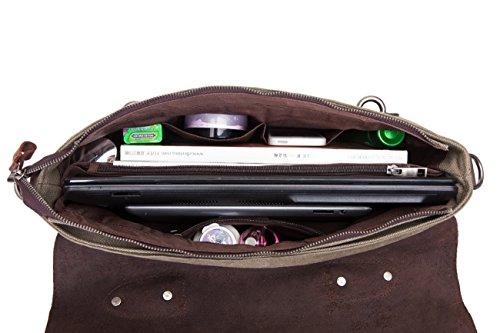 DoubleMay Herren Vintage Canvas Leder Aktentasche Messenger Bag Umhängetasche ideal für Studium Büro oder Freizeit Outdoor 38 x 11 x 28 cm (Schwarz) Armee Grün