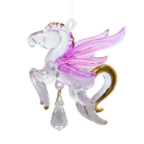 Click to open expanded view soffiato a mano e rosa dipinto Pegasus in vetro da appendere con cristallo Swarovski