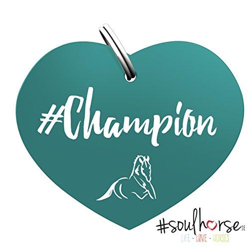 """Pferde Glücksmarke """"#Champion"""" in türkis von Soulhorse für Halfter, Trense und Zaumzeug"""