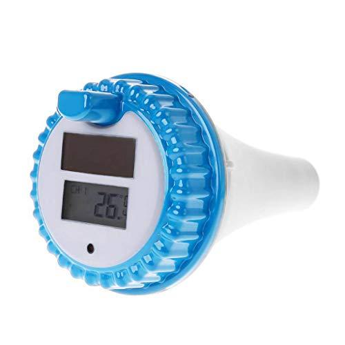 WINLISTING Solarenergie Digital Wireless Schwimmbad Thermometer SPA Floating Temperaturmesser mit 3 Kanälen Zeit Alarm Kalender (Weiß) -