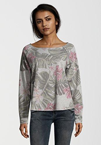 Juvia -  Felpa  - Floreale - Maniche lunghe  - Donna chiaro grigio Melange