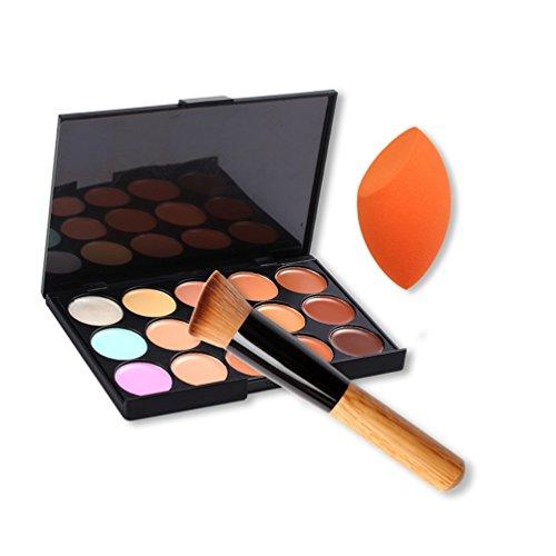 Songqee Palette de maquillage crème avec éponge 15 couleurs
