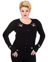 Banned–Retro Cardigan mujer chaqueta de punto con Schwalbe bordado negro hasta 4x l