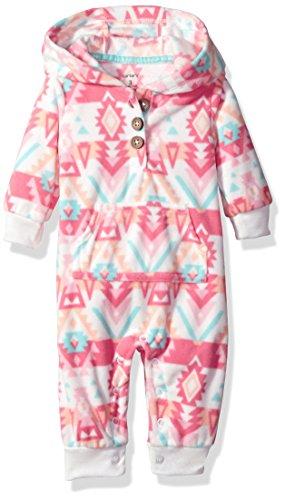 Carter's Overall Gr. 56/62 aus Fleece Einteiler mit Kapuze Mädchen girl US size 3 month (S, rose) (Carters Fleece-overall)