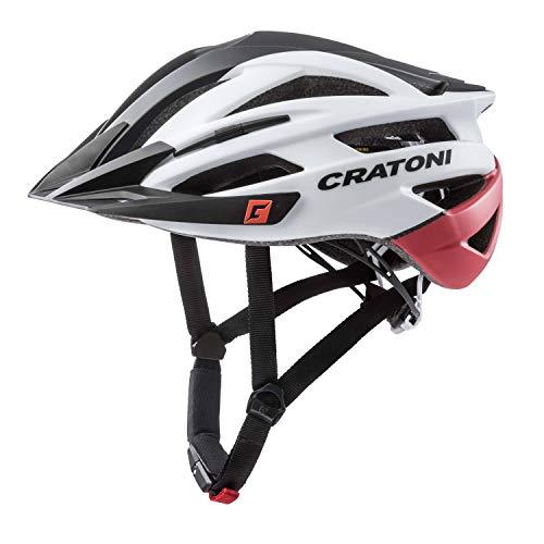 Cratoni Mountainbike Helm Agravic, Black-White-Red Matt, Gr. S/M (54-58 cm)