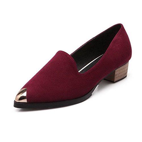 AalarDom Femme Suédé Tire Pointu Fermeture D'Orteil à Talon Bas Chaussures Légeres Rouge Vineux