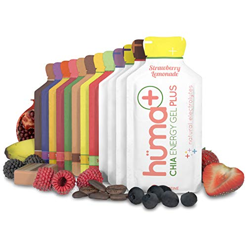 Huma PLUS - Chia Energy Gel, 4 PLUS & 8 Original, 12 Paquetes - Geles Energéticos, Nutrición Deportiva