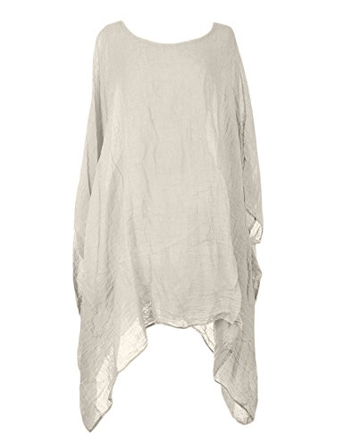 Ladies Womens Italian Lagenlook Quirky Short Batwing Sleeve Plain Linen Kaftan Loose Baggy Oversize Tunic Top Blouse One Size Plus (One Size Plus, Beige) (Linen Tunic Floral)