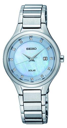 Seiko Damen Analog Solar Uhr mit Edelstahl Armband SUT351P9 - Solar Seiko Damen Uhr