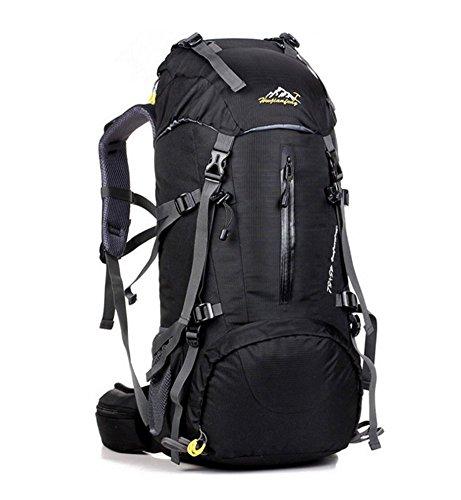 YAAGLE unisex 50L Outdoor wasserdichter Rücksack große Kapazität Reisetasche multifunctional Bergsteigen Tasche bequemliches Camping-Paket schwarz