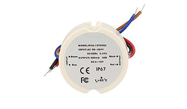 Led Driver Alimentatore Rotondo CC 660mA 8-15V DC 10W IP67