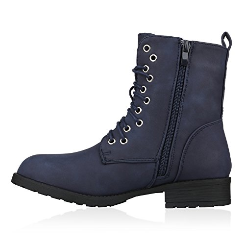 Stiefelparadies Damen Stiefeletten Worker Boots Spitze Stiefel Schuhe Flandell Dunkelblau Camiri