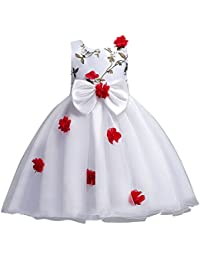 Topgrowth Ragazze Vestito Per Bambini Fiore Principessa Vestiti Senza  Maniche Abito Da Sposa Partito Comunione Compleanno 17a879429d6