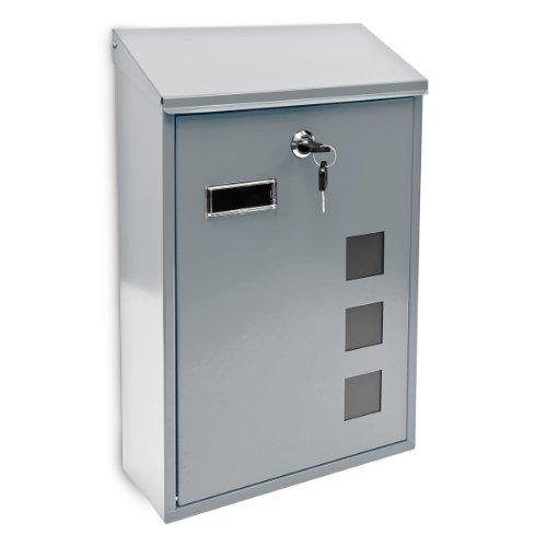 Design Briefkasten aus Metall 25x40 cm Silber (Extra Namensschild Großes)