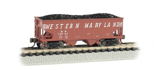 Bachmann Industries Mikado 55-Ton 2-Bay Hopper Western Maryland (Speed Lettrage) de Voiture de Train, N Échelle