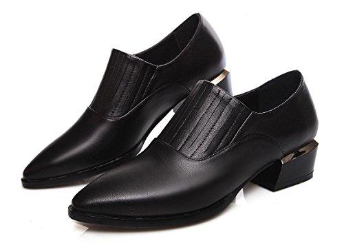 SHIXR Chaussures Femmes Court Chaussures Low Heel Chaussures Loafer Avec Chaussures Pointu Épais Noir Rouge Blanc noir