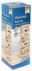 Idena 6060013 Wackelturm, Geschicklichkeitsspiel mit 54 Bausteinen aus Holz, ca. 8 x 8 x 26 cm