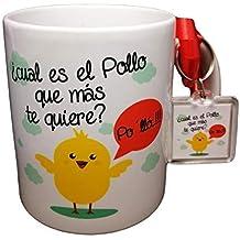 Taza Frase con LLAVEROCUAL ES EL Pollo Que MAS TE Quiere? PO LLÓ. Taza
